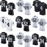 Wholesale Oakland Elite Mens Jerseys Raiders Derek Carr Khalil Mack Amari Cooper Charles Woodson white black running shirts
