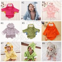 Wholesale Kids Animal Bathrobe Toddler Girl Boy Baby Cartoon Pattern Towel Hooded Bath Towel Terry Wrap Bath Robes styles OOA758