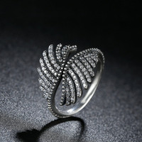 amazing promise rings - Genuine Sterling Finger Rings Majestic Phoenix Feathers Clear CZ Amazing Promise Wedding Rings for Women R103