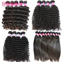 Wholesale Glamorous Hair Best selling grade a unprocessed Brazilian Hair Weave Bundles Peruvian Indian Deep Wave Curly Straight Hair Extensions