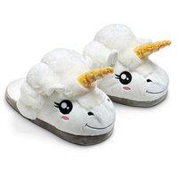 Wholesale-Winter Plush Unicorn Chintillons Cute Funny Men Adult Pantoufles Women Home Shoes Coton chaud avec talon Pantufas Zapatillas Unicornio