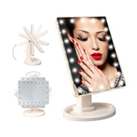 Wholesale LED Make Up Mirror Cosmetic Desktop Portable Compact LED lights Lighted Travel Makeup Mirror for Women Black White Pink ZA2069