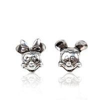 Wholesale Stamped Dizny ALE925PANDOX Mickey Minnie Alloy Charm Bead Antique Silver Plated European Retro Style Jewelry For Pandora Bracelet