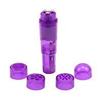 al por mayor vibradores para las mujeres-4 Consejos intercambiables impermeable Mini cuerpo completo masajeador aliviar el estrés de viaje de bolsillo Rocket Vibrador de juguetes de sexo para las mujeres