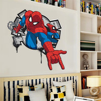 Wholesale 3d Spiderman wall stickers for kids rooms mural poster boy s room decor fashion removable wall stickers bedroom decals