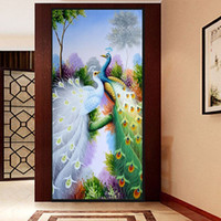 Wholesale Diamond embroidery D Diy diamond Painting Cross Stitch Purple peacock picture D Needlework diamond Mosaic Home Decoration