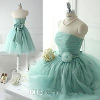 Wholesale Mint Green Bridesmaid Dress Off the Shoulder Strapless Short Wedding Party Dress Cheap Bridesmaid Dress