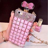 Precio de Iphone bling la rosa-085 Botella de perfume hecho a mano del Rhinestone 3D de Bling El teléfono lindo del color de rosa del Bowknot protege la caja del teléfono móvil de la contraportada para el iPhone 5 / 5s 6/6 más 7/7 más