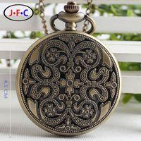 antique grilles - retro carved hollow bronze grilles and quartz pocket watch gift table large dense flowers DS167
