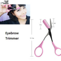 Wholesale Girls Lady Pink Eyebrow Trimmer Eyelash Thinning Shears Comb Eyelash Hair Clips Scissors Shaping Eyebrow Grooming Cosmetic Tools