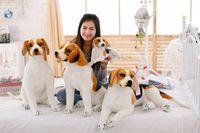 Wholesale 50cm Emulational Toy Plush Stuffed White dog decorative pattern Lying Posture Artificial Animal