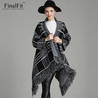 Vente en gros-FinalFit hiver tricoté Cardigan Femmes, Plaid noir Long Loose Tassels bonne qualité