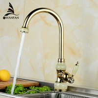 Wholesale Brass torneira cozinha with Marble kitchen faucet single handle Gold finish basin sink mixers taps U