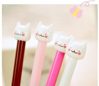 Wholesale 2016 Hot Selling Cute Cat Design Gel Pen Black Ink Pad mm New Head Gel Pen Korean Style Pen Promotion Lovely Gift