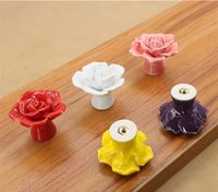 Wholesale 1Pcs Rose Ceramic Knobs Kitchen Cabinet Drawer Pulls Furniture Handle Bathroom