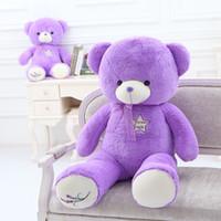 Hugging purple broderie ours en peluche très doux confortable jouets en peluche cadeau en doux pv peluche en peluche sans étincelant en drop shipping cadeau parfait