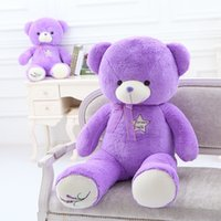Wholesale Hugging purple teddy bear embroidery very soft comfortable stuffed toys gift in soft pv plush fleece no shinning drop shipping perfect gift