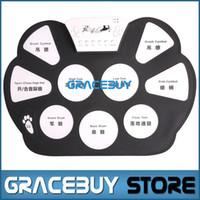Vente en gros-Portable électrique Digital Practice Drum Pad Set USB Drumset électronique Kit Musical Drumpad Avec Drum Sticks Foot Pedal Nouveau
