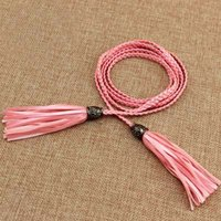Wholesale women weavn waist belt tassel belt