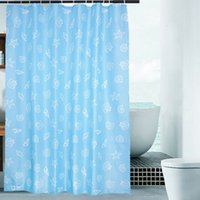 Wholesale Quality Polyester Fabric Shower Curtains Waterproof Blue Ocean Printed Washable Water Proof Barth Curtains with Plastic Hooks