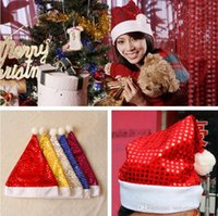 Wholesale Christmas Hat Cap Sequin Shining Christmas Hats Red Santa Hats Cute Adults Christmas Party Caps Santa Clause Navidad Caps PPA470