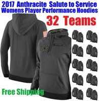 american performance - 2017 Womens Anthracite Salute to Service Player Performance Hoodies Dallas Womens USA American Football Hoody Cowboy Jersey