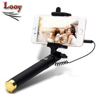 Wholesale Handheld Extendable Pocket Luxury Wired Selfie Sticks Built in Shutter Smart Integrated Selfie Monopod For iPhone Plus Samsung Sony HTC LG