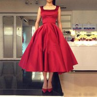 apple square - Tea Length Formal Prom Dresses Vestidos Longo De Festa Satin Sleeveless Evening Dresses with Open Back Square Neckline