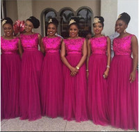 Wholesale Nigerian Sequins Bridesmaid Dresses Fuschia Tulle Long Prom Wedding Party Guest Dresses Real Image African bellanaija wedding dresses Custom