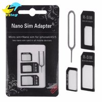 Wholesale 4 in Nano Sim Card Adapter Micro Sim card adapter Standard SIM Card Adapter With Eject pin For Iphone s s plus for iphone fo