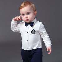 Wholesale Newborn Baby Boy Rompers Cotton Gentleman Suit Bow Leisure Body Suit Clothing Toddler Jumpsuit Baby Boys Brand New Clothes