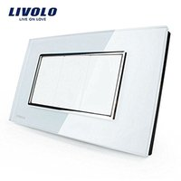 Knob switch blank socket - LS Livolo US Standard Switch All Blank Socket VL C300 White Crystal Glass Panel