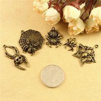 Traditional Charm ancient spiders - DIY retro jewelry accessories handmade beaded ancient bronze Skull skeleton Spider web pendant small vintage spider charms metal