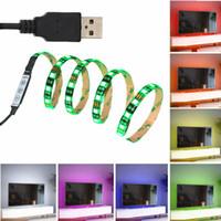 al por mayor franja multicolor-JIANGUO 5050 USB RGB LED tira DC 5V flexible impermeable multicolor cambiante para pantalla plana / HDTV / PC / TV / portátil de iluminación de fondo 1 metro