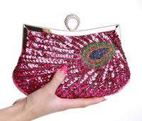 beaded purse patterns - Vintage Women Clutch Bags Peacock Pattern Sequins Beaded Chain mini handbag Bridal Purse luxury Evening Party Wedding Gifts