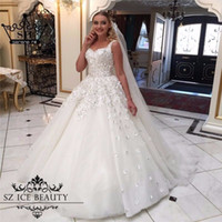 Wholesale Elegant White Wedding Dresses Ball Gown Bling Beaded Hand Made Flowers Lace Up Back Puffy Bridal Gowns Plus Size Vestido De Noiva