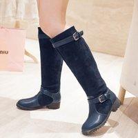 Boucle de ceinture en gros-Mode Bottes de moto bottes de genou Femmes noir bleu marron Nouveau Faux suède bottes Chunky bottes femmes