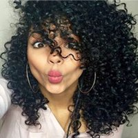 Wholesale Price Fashion Natural Black Silk Top Simulation Lace Wigs Brazilian Virgin Hair Simulation Curly Wigs For Black Women