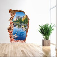 Wholesale The broken wall of D three dimensional wall stickers wucaiche mountain landscape wall stickers door NEW ARRIVAL