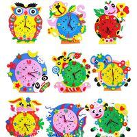 baby art kit - Set Creative DIY D Handmade EVA Cartoon Animals Early Learning Clock Puzzles Arts Crafts Kits Baby Kids Birthday Gifts Toys