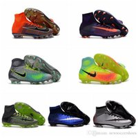Wholesale new black men soccer cleats mercurial superfly kids football boots youth soccer shoes magista obra FG Mens women original cr7 cleats Blue
