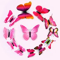 3D Sticker PVC Animal Wall Stickers Simulation 3D Butterfly 6 color single layer simulation Butterfly can be Removable Home & Garden