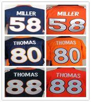 al por mayor julius naranja-2017 Elite Hombres camisetas de fútbol 58 Von Miller 80 Julius Thomas 88 Demaryius Thomas azul naranja baratos Stitched rugby shirts