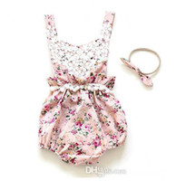 TuTu babies stockings - In Stock Ins Baby Girl Print Flower Rompers Cute Floral Lace Jumpsuits Headband Two Piece Sets Infant Toddler Soft Cotton Bodysuits