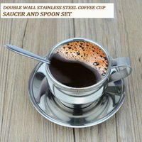 Wholesale High Quality Stainless Steel Coffee Cup Saucer and Spoon Set ML Stainless Steel Double Wall Coffee Mug Set