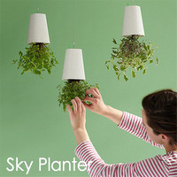 Wholesale Decorative Small Hanging Plant Pot Plastic Upside Down Flower Pots Sky Planter for Home Indoor Decoration