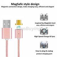Precio de La iluminación universal,-Magnetic Adapter Cable Cargador Micro USB Tipo C Iluminación Magnet Data Sync 1M Nylon Braid Cables de línea de datos para Smart Android teléfono más barato