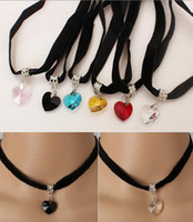 Wholesale New Vintage Black Velvet Chokers Pendants Necklace sweater chain Retro Gothic Heart Shaped Crystal stone Pendant Necklaces for girls lady