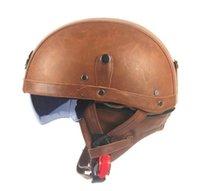 Motocicleta moto jinete medio abierto cara PU cuero casco visera con cuello de cuero vintage motocicleta motocicleta Vespa