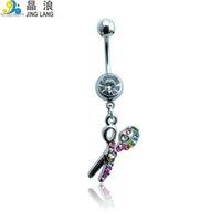 bell scissors - 2016 New Arrival Price Fashion Multicolor Rhinestone Scissor Belly Button Rings For Women Body Jewelry